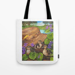 Ducklings and Old Fishing Hat Tote Bag