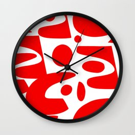Red and white abstract art organic decorative Wall Clock