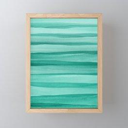 Green Watercolor Lines Pattern Framed Mini Art Print
