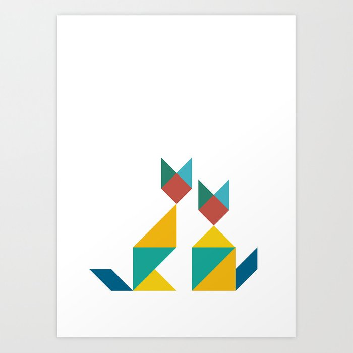 Tangram Cats 1 Art Print