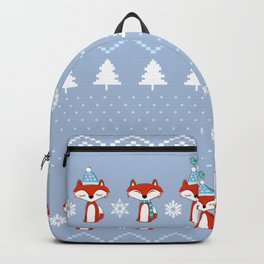 Fox Christmas Sweater Pattern Backpack