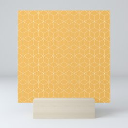 Sashiko stitching Yellow/Ochre/Ocher pattern Mini Art Print