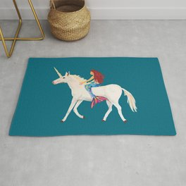 Red Haired Mermaid Rides the Unicorn Rug
