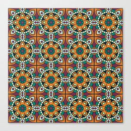 Mandala artwork, Colorful mandala flowers No4 Canvas Print