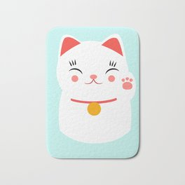 Lucky happy Japanese cat Bath Mat