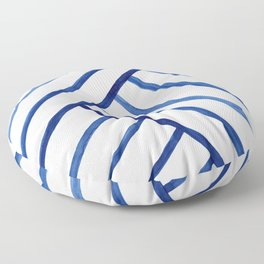 Watercolor lines pattern | Navy blue Floor Pillow