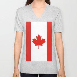 Red and White Canadian Flag Unisex V-Neck