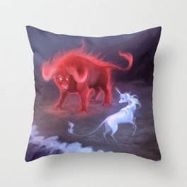 Unicorn and Bull Throw Pillow