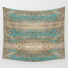 Rustic Wood - Beautiful Weathered Wooden Plank - knotty wood weathered turquoise paint Wall Tapestry