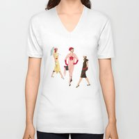 givenchy V-neck T-shirts featuring 1950's Girls by Tom Tierney Studios
