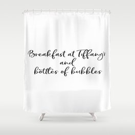 Ariana G. Poster, 7 Rings, Breakfast at Tiffany's and bottles of bubbles Shower Curtain