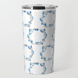 Blue and Gray Watercolor Leaf Wreath Travel Mug