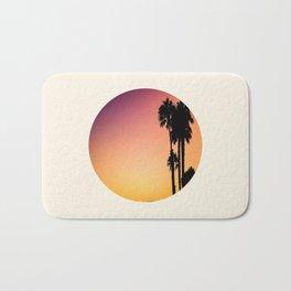 Palm Tree Silhouette & Orange Purple Sunset Bath Mat
