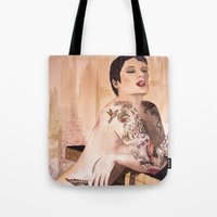 tatoo Tote Bags featuring Tatoo by aurora villaviejas