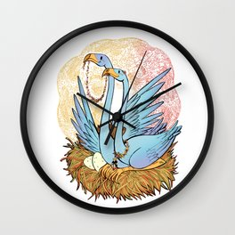 Blue Flamingos Nest Wall Clock