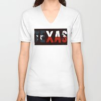 texas V-neck T-shirts featuring Texas, Too by Kam Minatrea