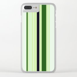 Black Light Blue and Shades of Green Stripes Clear iPhone Case