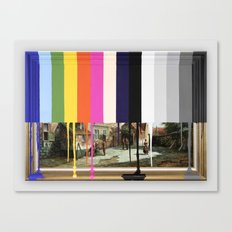 Garage Sale Painting of Peasants with Color Bars Canvas Print