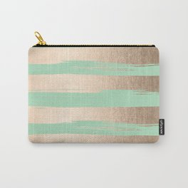 Painted Stripes Gold Tropical Ocean Green Carry-All Pouch