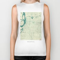 memphis Biker Tanks featuring Memphis Map Blue Vintage by City Art Posters