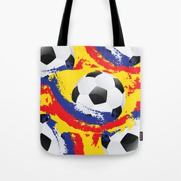 Football Ball and red, blue and yellow Strokes Tote Bag