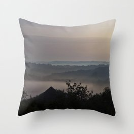 Foggy Summer Morning in France Throw Pillow