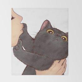 cat : huuh Throw Blanket