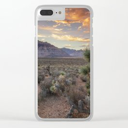 Fiery Clouds Over Red Rock Clear iPhone Case