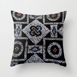 Black White Blue Red Mosaic Print Throw Pillow