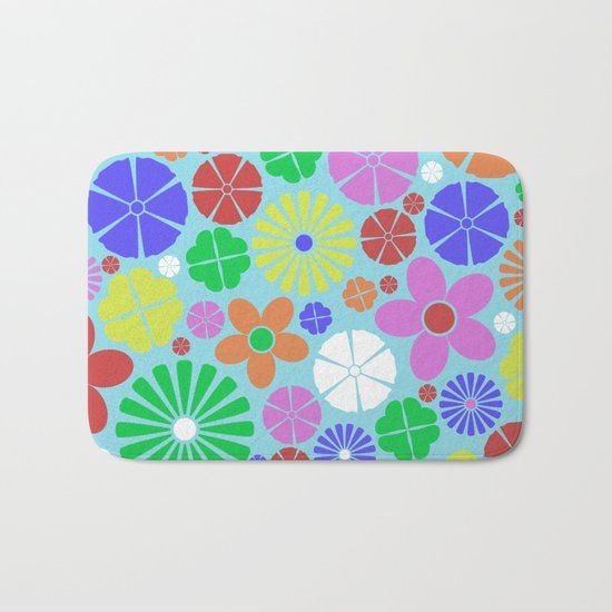 Colourful Colorful Flowers Pattern Bath Mat