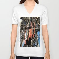 eiffel V-neck T-shirts featuring Eiffel by Mario Sa