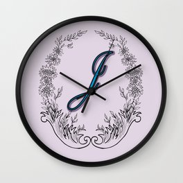 letter J with flowers and leaves Wall Clock