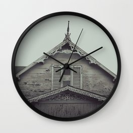 Sepia/Black and white Gingerbread Home Print, Historic Home Print, Colonial Home Photography, Trini Wall Clock