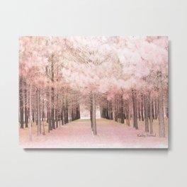 Pink Nature Woodlands Trees Baby Girl Nursery Decor Metal Print
