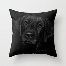 Black Labrador Retriever Throw Pillow