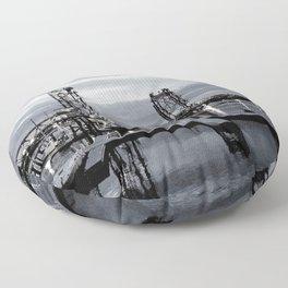 B&W Night Bridge Lights Floor Pillow