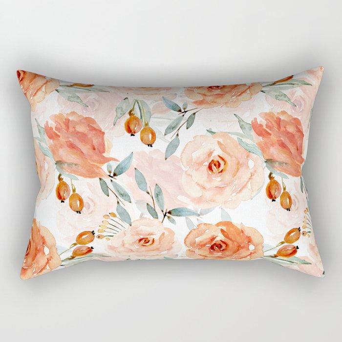 Living Coral Autumnal Roses Rectangular Pillow