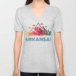 Retro Arkansas Design for Men Women and Kids Unisex V-Neck