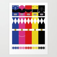 power rangers Art Prints featuring Mighty Morphin Power Rangers by Ripple Ripple