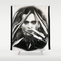 edward scissorhands Shower Curtains featuring Edward Scissorhands by Whitney Wilkinson