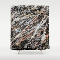 copper Shower Curtains featuring Copper ore by Bruce Stanfield