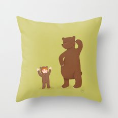 Bear and girl: dressing up Throw Pillow