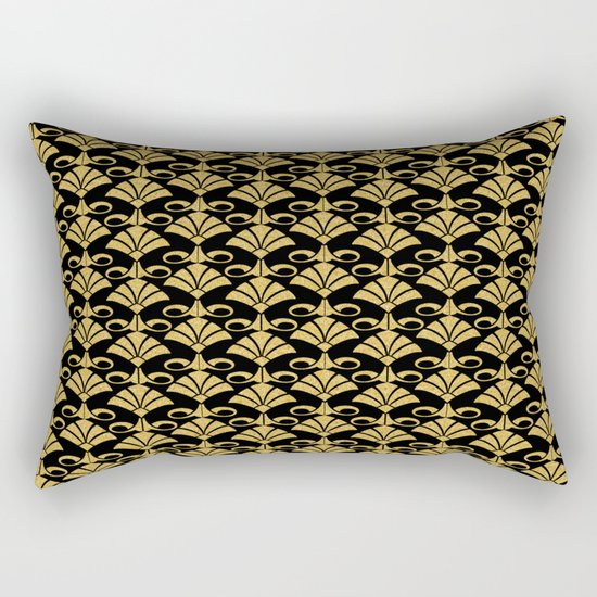 Wonderful gold glitter art deco pattern on black backround I- Luxury design for your home Rectangular Pillow