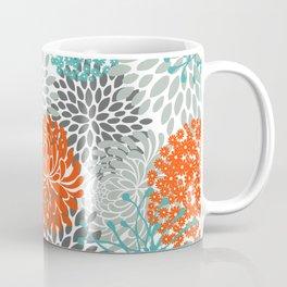 Orange and Teal Floral Abstract Print Coffee Mug