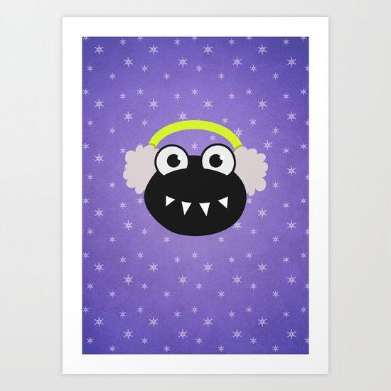 Purple Cute Cartoon Bug With Earflaps In Winter Art Print