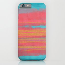Modern Minimal Abstract Painting in Turquoise and Pink Coral Colors with Gold Texture iPhone Case