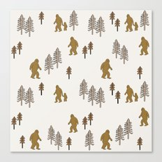 Sasquatch forest woodland mythic animal nature pattern cute kids design forest Canvas Print