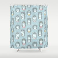 llama Shower Curtains featuring Llama family by Anna Alekseeva kostolom3000