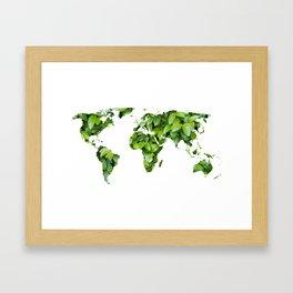 Green Map Of The World Framed Art Print