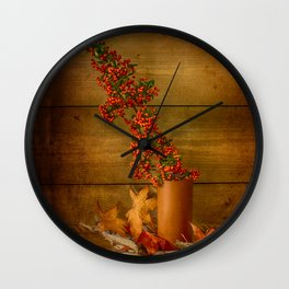Autumn Still Life with Firethorn Wall Clock